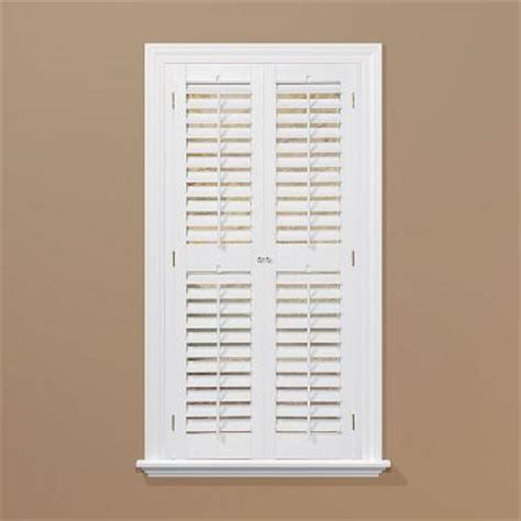 Wooden Shutters Interior Home Depot | homebasics plantation faux wood white interior shutter