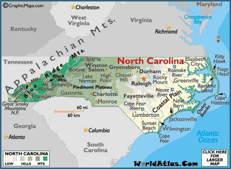 printable maps north carolina north carolina maps including outline and topographical