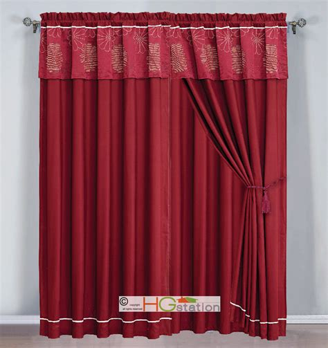 Beige Curtains With Valance 4 Pc Jacquard Striped Floral Curtain Set Burgundy