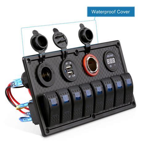 connecting boat switch panel 8 gang circuit breaker 12v 24v led rocker switch panel