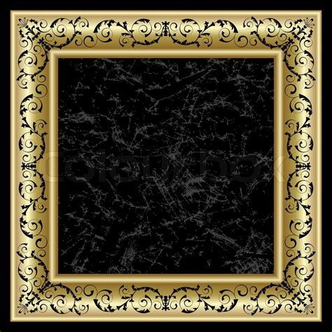 gold frame on the black background stock vector colourbox