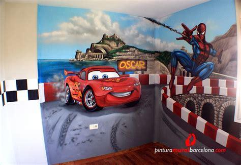 mural cars  spiderman habitacion infantil