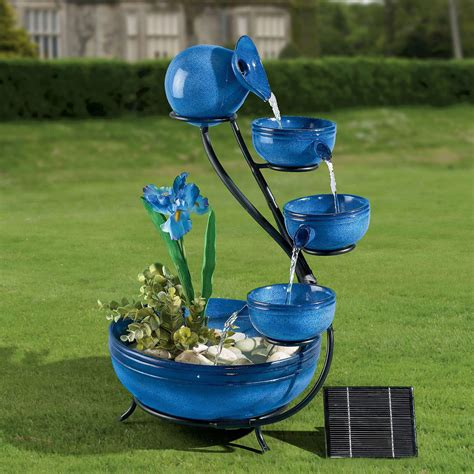 solar powered garden fountains outdoor decorations