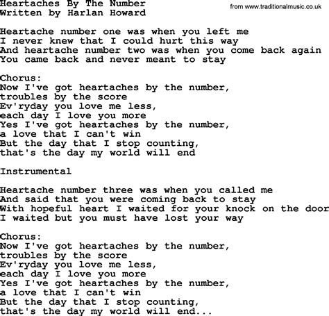 song by heartaches by the number by george jones counrty song lyrics