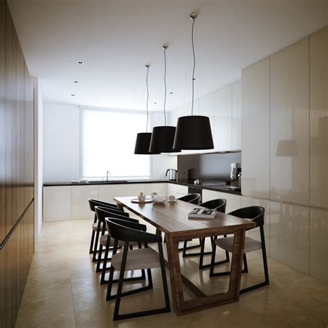 kitchen area design modern minimalist black and white lofts