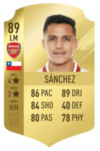 alexis sanchez fifa 18 review fifa 18 alexis sanchez 89 player review fut 18 gold nif