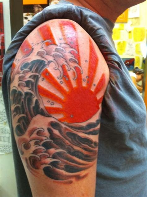 rising sun tattoo japanese sun and wave wave and sun