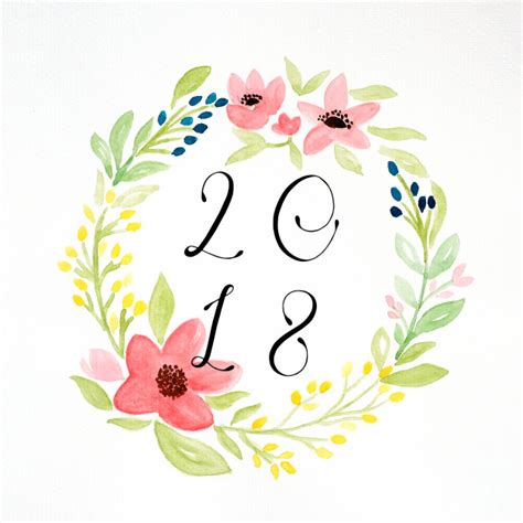 new year flower fair 2018 happy new year 2018 on painting flowers wreath in