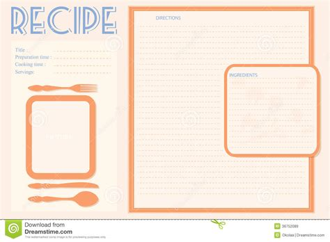 recipe layout template vector retro recipe card layout stock vector image 36752089