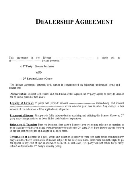 Agreement Letter For Dealership Dealership Agreement Template Hashdoc