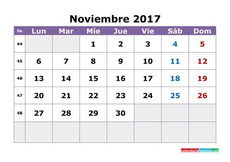 Calendario Noviembre 2017 Usa Calendario De Noviembre De 2017 4 Printable 2018