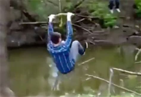 russian rope swing drunk russian attempts the rope swing wtf video ebaum