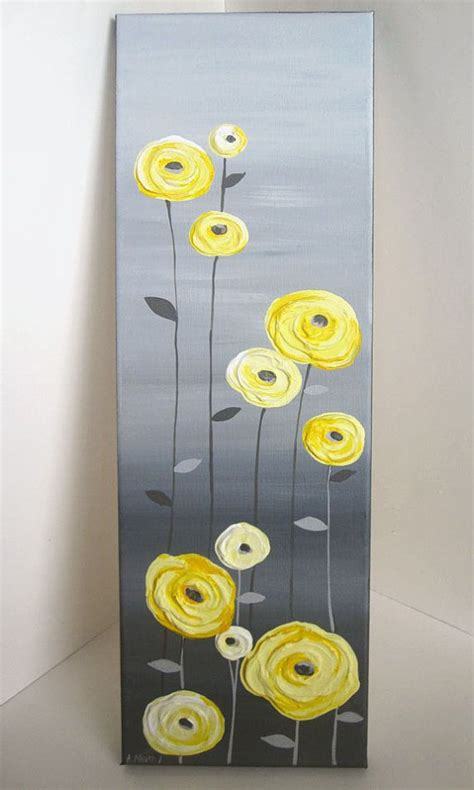 how to lighten acrylic paint on canvas yellow and grey textured flower original acrylic