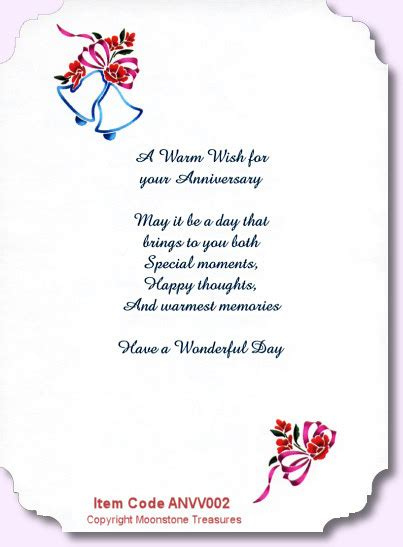 wedding poems for cards wedding anniversary card verses by moonstone treasures