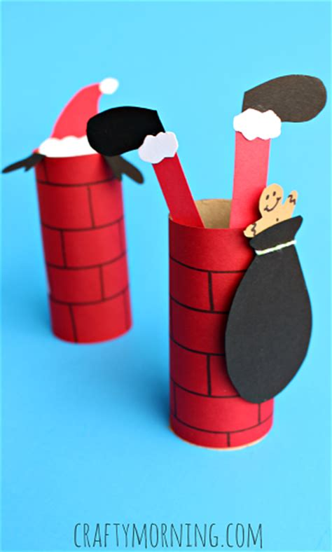 santa toilet paper roll craft santa going a toilet paper roll chimney craft