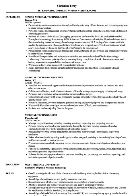 medical technologist resume medical technologist in medical