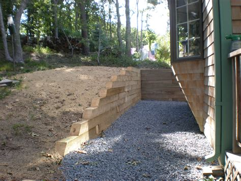 Installing Landscape Timbers On A Slope Landscape Timber Retaining Wall Meyer Landscapes
