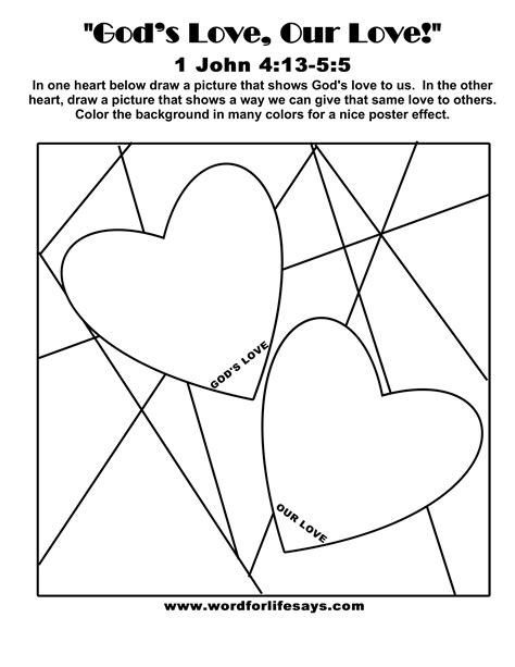 love chapter coloring page god s love our love sunday school lesson 1 john 4 13