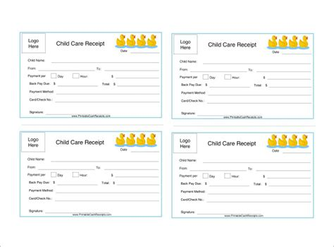 receipt book template for child care service 24 daycare receipt templates pdf doc free premium