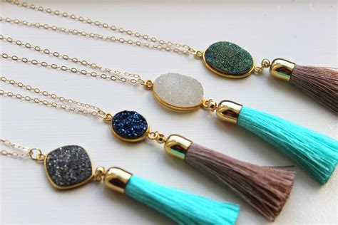 tassels for jewelry gold tassel necklace druzy necklace fringe necklace tassel