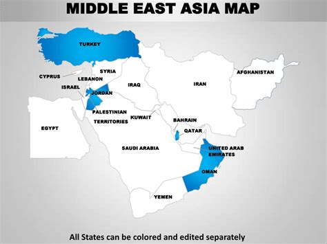 middle east map continent middle east asia editable continent map with countries