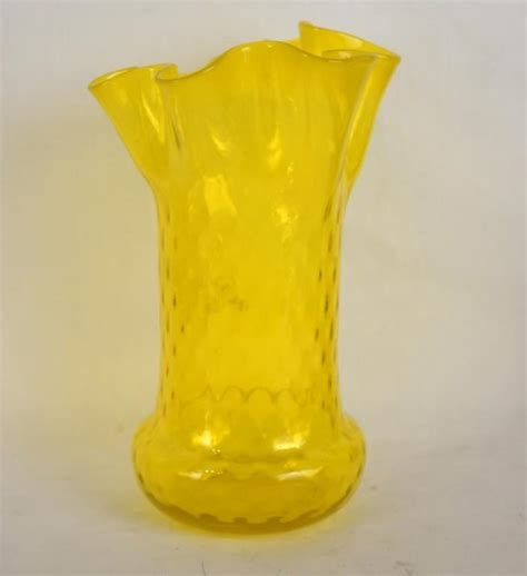 Yellow Glass Vase by Vintage Yellow Glass Vase