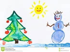child drawing snowman stock illustration image 49653742