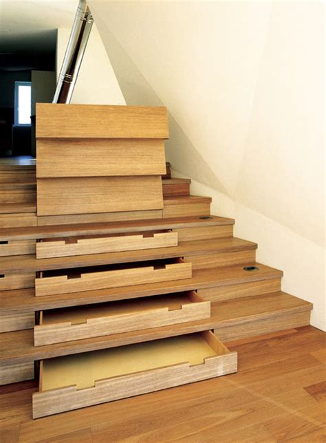 stairs storage 30 stair shelves and storage space ideas freshome