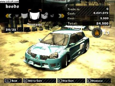 renault clio v6 nfs nfs most wanted clio v6 customization youtube