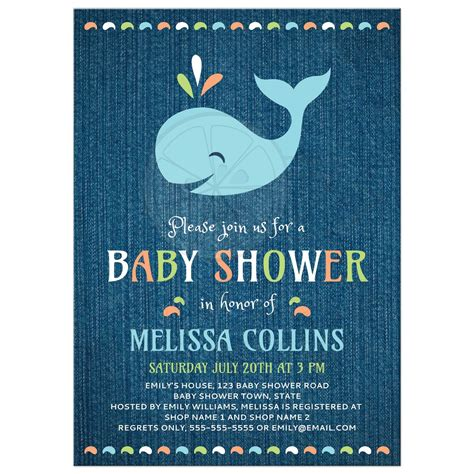 Accent Home Decor by Whale On Blue Denim Cute Baby Shower Invitation Under