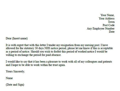 Resignation Letter Sle Uk Nhs Formal Resignation Letter For Nurses Forums Learnist Org