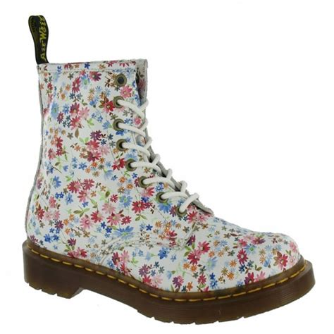Sp Boot Flower White dr martens 1460w flowers womens leather 8 eyelet boots white floral ankle boots from