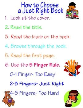 how to choose a how to choose a just right book poster by real reading