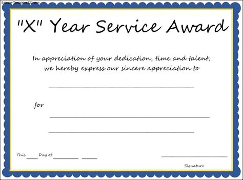Years Of Service Certificate Templates Free multi year service award certificate template sle