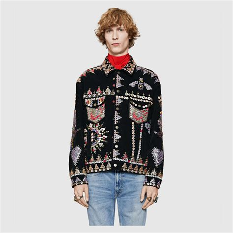 Embroidery Button Jacket gucci corduroy jacket with buttons embroidery in black for