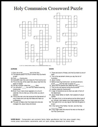 the cross word and sacrament books holy communion themed crossword puzzle for catholic