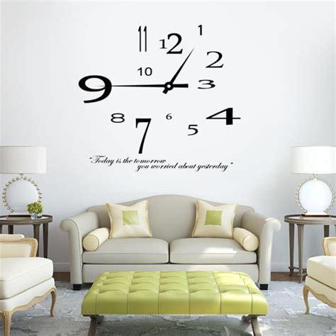 Large Wall Decals For Bedroom removable modern design clock wall sticker home decoration