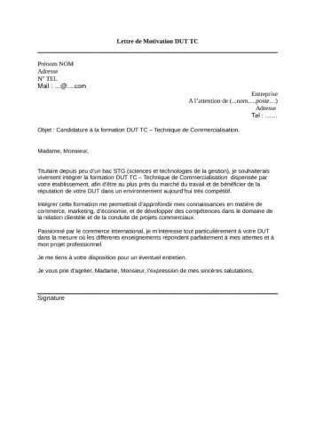 Exemple De Lettre De Motivation Dut Informatique exemple lettre de motivation dut gea contrat de travail 2018