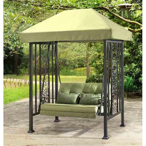 sunjoy aluminum vineyard canopy porch swing green