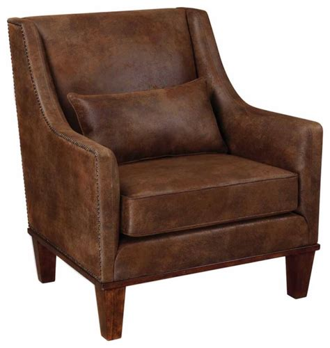 southwestern accent chairs uttermost 23030 clay faux leather armchair southwestern