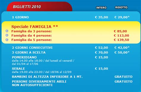 gardaland prezzo ingresso prezzi biglietti gardaland e offerte famiglia 2010