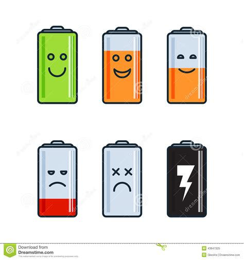 battery indicator icons stock vector illustration
