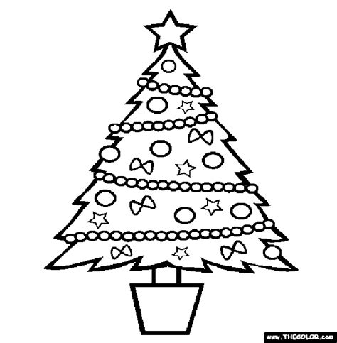 traceable christmas tree az coloring pages