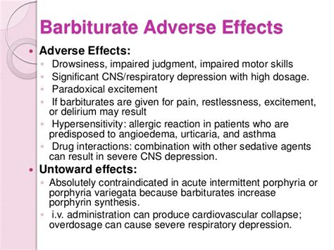 Barbiturate Detox by Drugs That Act On Cns