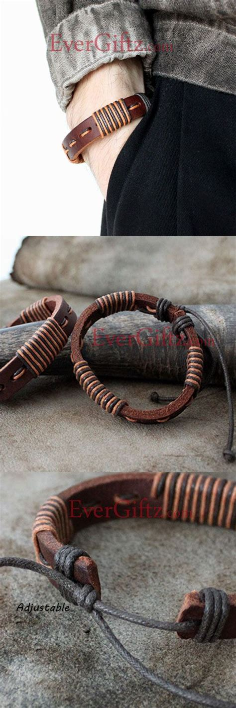 Genuine Leather Layered Bracelet genuine leather bracelets layered knit weaved vintage gift