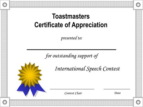 Ppt Toastmasters Certificate Of Appreciation Powerpoint Certificate Of Appreciation Ppt