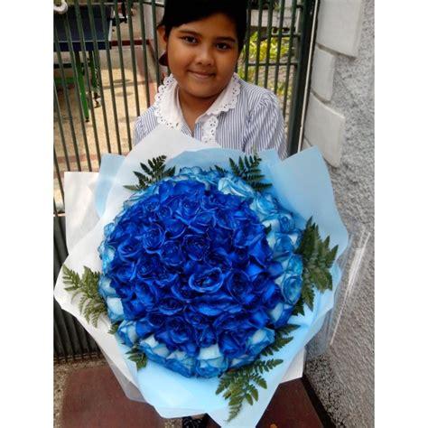 Buket Mawar Biru Handbouquet Mawar Biru Bunga Mawar Biru Asli toko bunga handbouquet mawar biru 101 tangkai