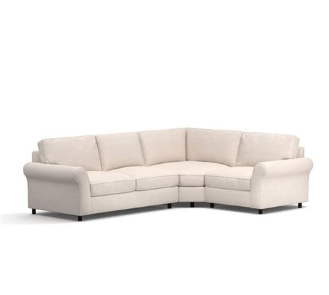 pb comfort sectional pb comfort roll arm upholstered 3 piece sectional with