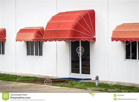 awning red red awning stock photo image 42442852