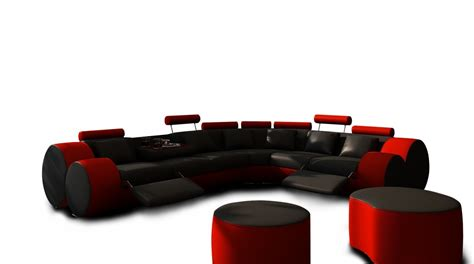 3087 Modern Black And Red Leather Sectional Sofa And